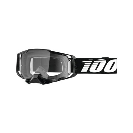 100% Armega Goggles Black with Clear Lens